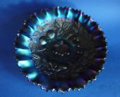 Superb Northwood Amethyst Carnival Glass 'Three Fruits' Pie Crust Bowl